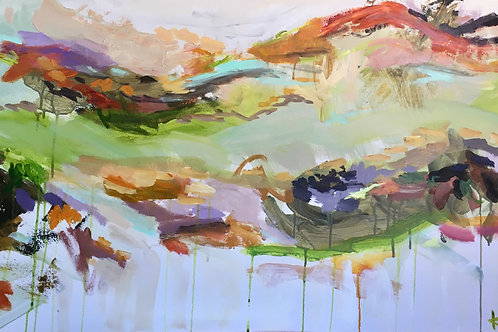 """SOLD Earth Series 2019 #2, 24 x 48"""" acrylic on canvas"""