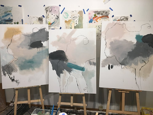 "The Sophisticates, series of 3 (WIP), 30 x 40"" each acrylic on canvas"