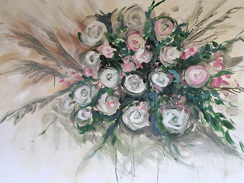 """Light Pink Floral, 48 x 36"""", acrylic on canvas"""
