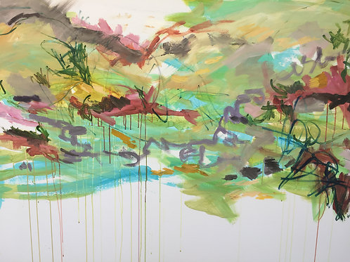 "Vibrant Series 2019 #3, 60 x 48"" acrylic on canvas"