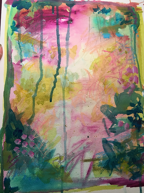 "Fuschia Mama, 12 x 16"" mixed media on watercolor paper"