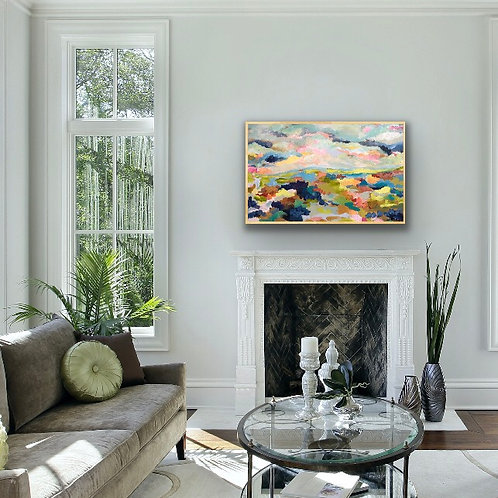 """Fireplace Art, framed, 30 x 48"""", by commission"""
