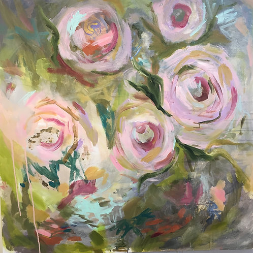"""SOLD Floral Green/Pink 36 x 36"""" acrylic on canvas"""