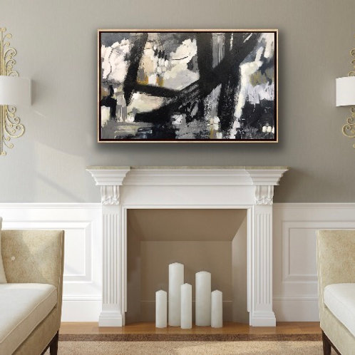 """Fireplace Art, 30 x 48"""", by commission"""