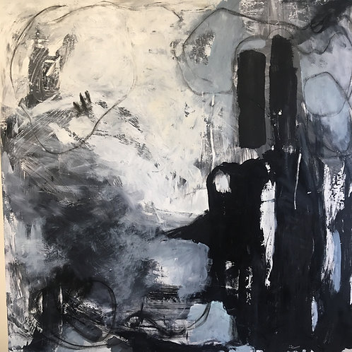 "Black and White City, 36 x 36"" acrylic on canvas"