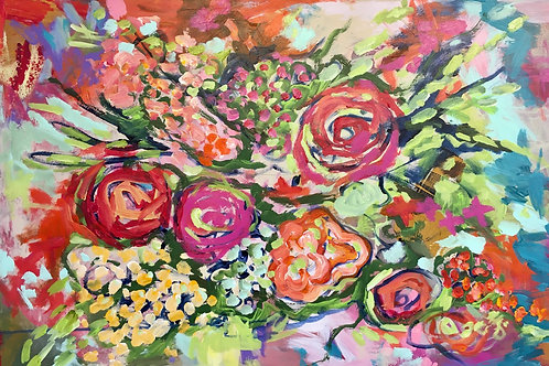 "June 2020 Floral #1, 36 x 24"" acrylic"