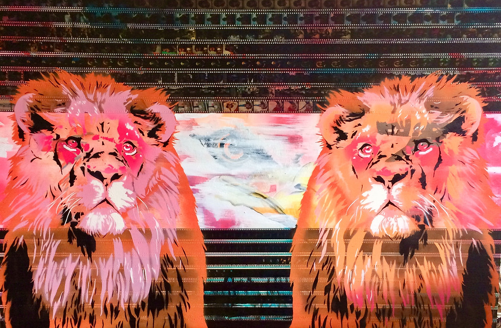 Spray paint and acrylic with archival  Mandrell Sisters footage. 38x58
