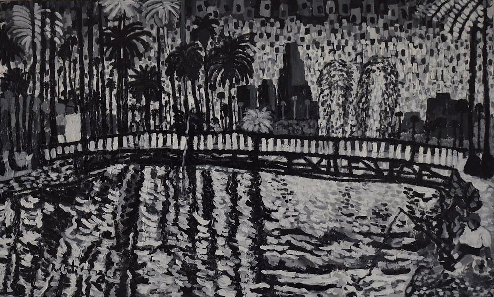 "Artist: Roberto Gutierrez Title: Echo Park Year: 2013 Material: Acrylic Size: 36"" x 60"""