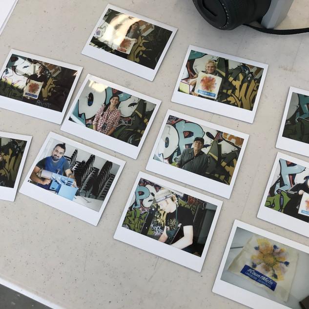 Polaroid photos of the Tote Bag Print Screening workshop