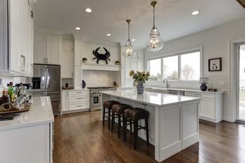 White Waterfront Kitchen in Grasonville. Interior design by Dawn Crovo.