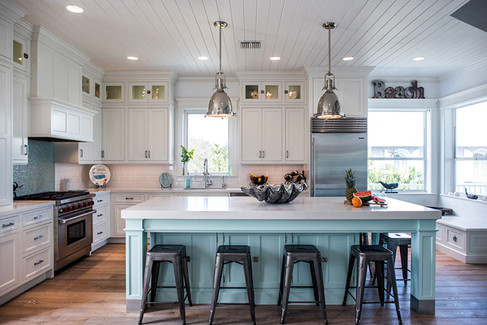 Coastal White Kitchen with Blue Island