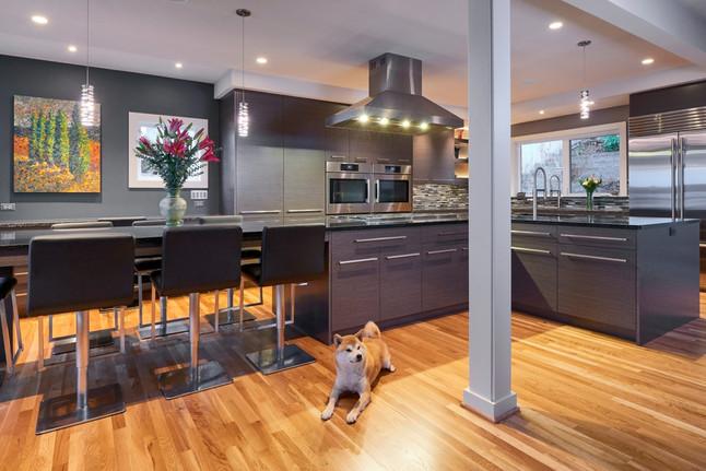 Gray and Oak Kitchen Design