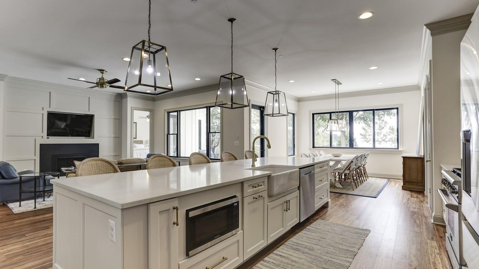 Custom kitchen island and lighting