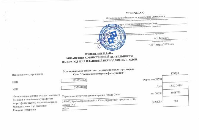 Изменения ПФХД 03.2019