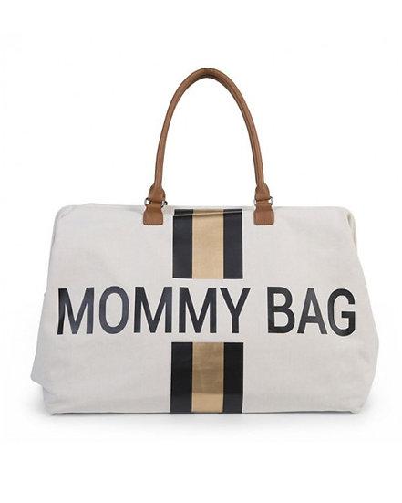 Childhome Mommy Bag Borsa Cambio Big Canvas Off White Stripes Black Gold