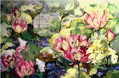 Dianne Ogg - Pink Lotus Diptych (detail