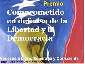 "JOSE CHALCO RECIBE ""Premio comprometido con la libertad y la democracia"""