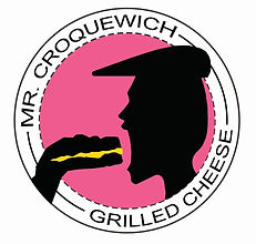 Mr Croquewich eating a grilled cheese sandwich