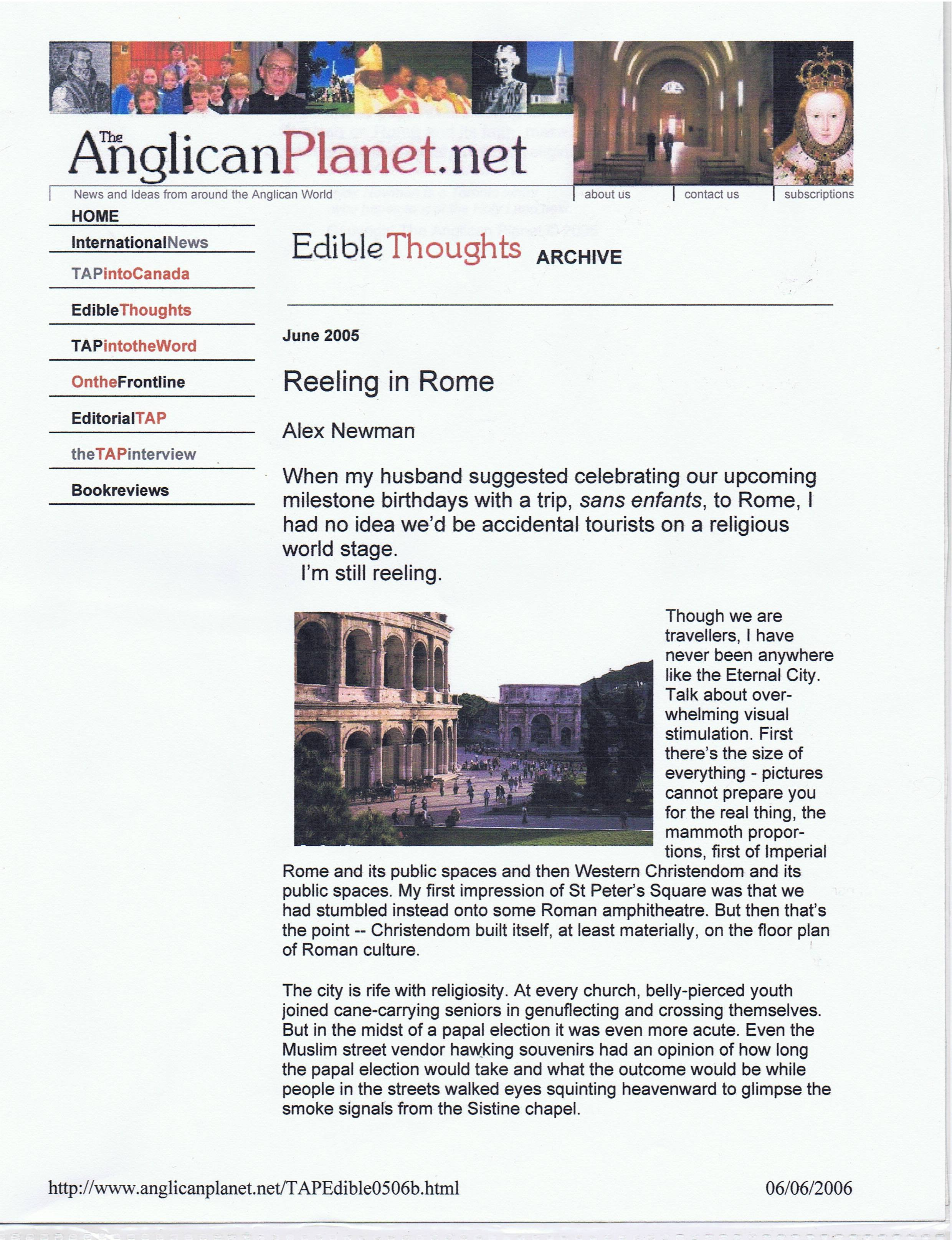 Travel -- Reeling in rome