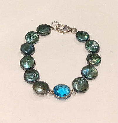 A.Punto - Teal Pearls and Blue Quartz Bracelet