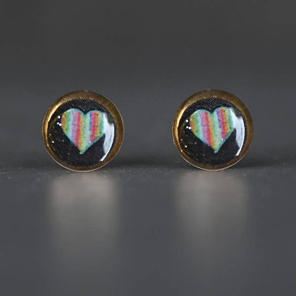 KBD - Tiny Picture Rainbow Heart Studs