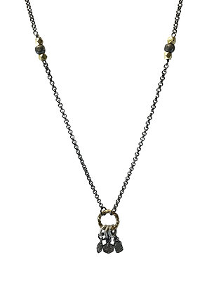 A.Punto - Diamond Charms on Oxidized Chain