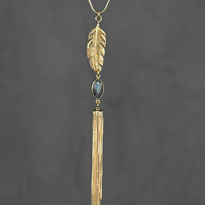 KBD - Feather & Labradorite Necklace