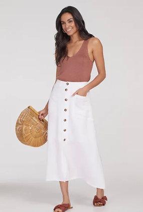 Tribal - Button-Down Linen Blend Skirt