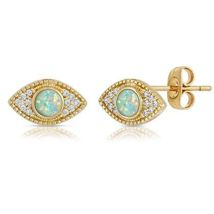Elizabeth Stone -Evil Eye Studs with Aqua Opal