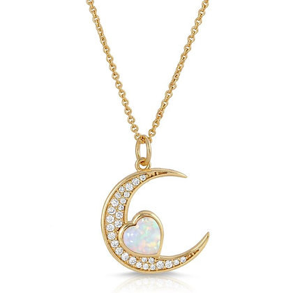 Elizabeth Stone - Love You to the Moon Necklace with Opal