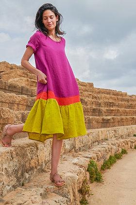 Alembika - Linen Colorblock Midi Dress