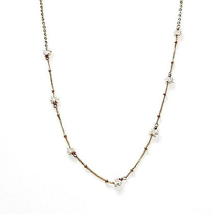 Judy Brandon - Tiny Pearl Flower Cluster Necklaced