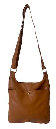 Ah-dorned - Soft Faux Leather Messenger with Exterior Zip Pocket