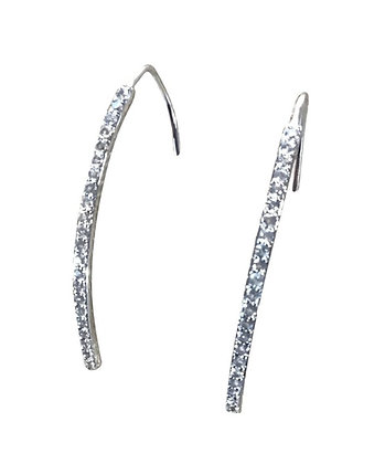 A. Punto - White topaz on Sterling Silver Wire Earrings