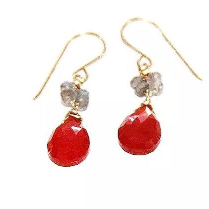 Judy Brandon - Carnelian & Labradorite Earrings