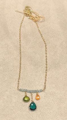 Judy Brandon - Apatite, Peridot, Idicolite and Orange Garnet Drop Necklace