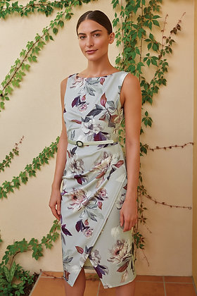 Joseph Ribkoff - Dove grey floral dress
