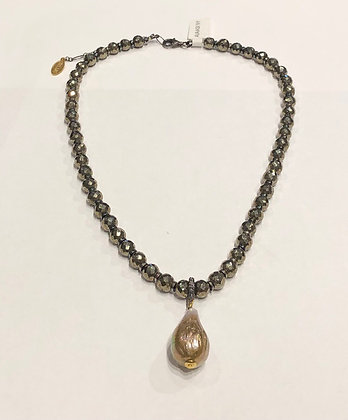 Avaasi - Batoque Pearl with Pave Diamond Bail Necklace