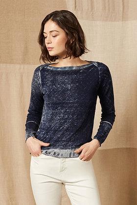 Ecru - Printed Boatneck Sweater