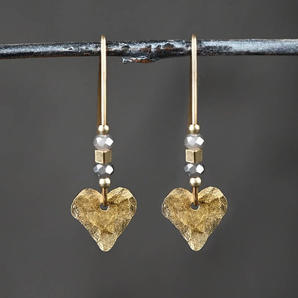 KBD - Small Beaded Hammered Heart earings