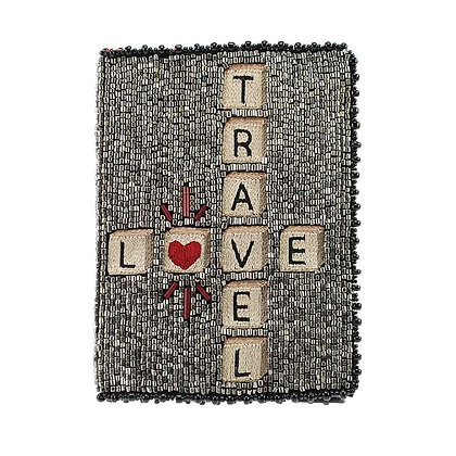 Mary Frances - Word Play Beaded Passport Holder