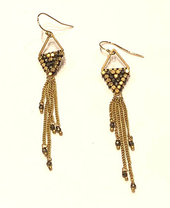 Rain Drop Earrings with Pyrite