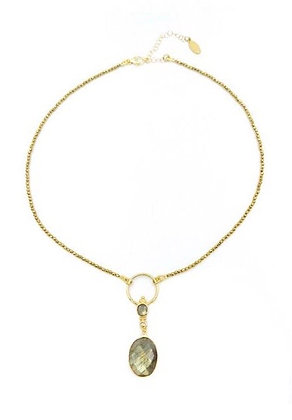 Avaasi - Labradorite Pendant on Gold Hematite