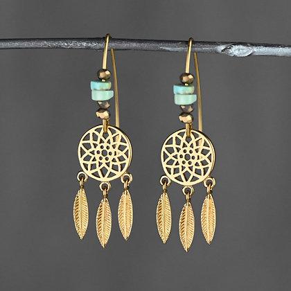 KBD - Dream Catcher & Turquoise Earrings