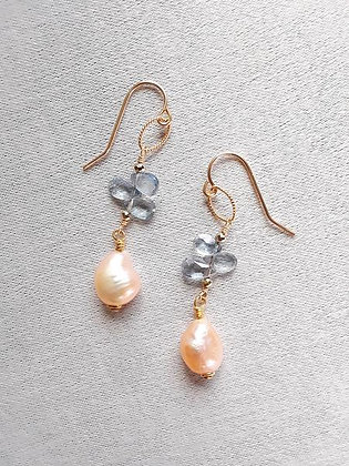 Avaasi - Cream Freshwater Pearls and Blue Topaz Earrings