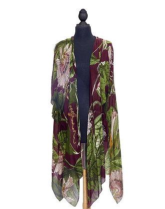 One Hundred Stars - Passion Flower Long Kimono