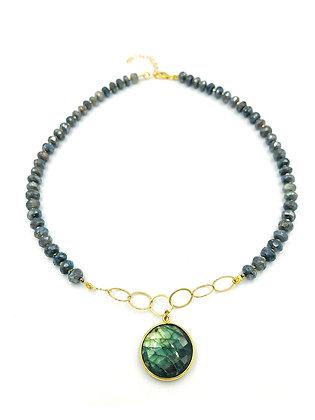 Avaasi - Labradorite Round Pendant Necklace