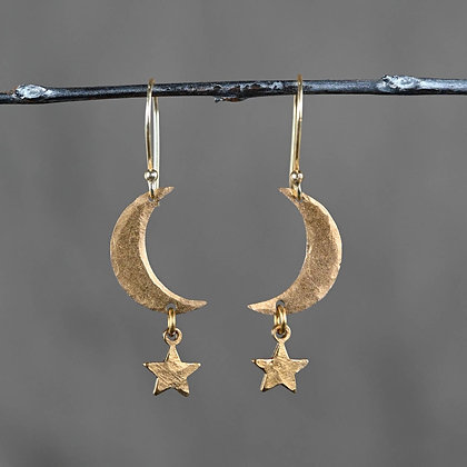 KBD - Hammered Moon and Star Earrings