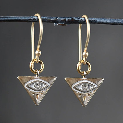 KBD - Petite Brass All Seeing Eye Earrings