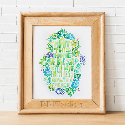 Succulents Hamsa Hand Home Blessing